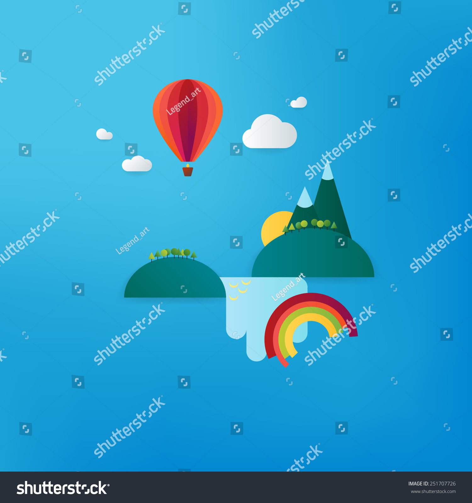 Minimalistic Travel Vacation Landscape With Balloon