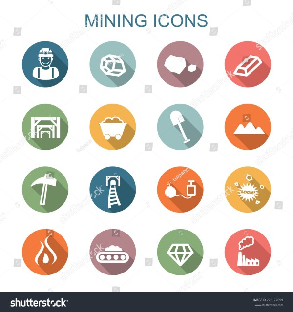 Mining Long Shadow Icons Flat Vector Symbols 226177699