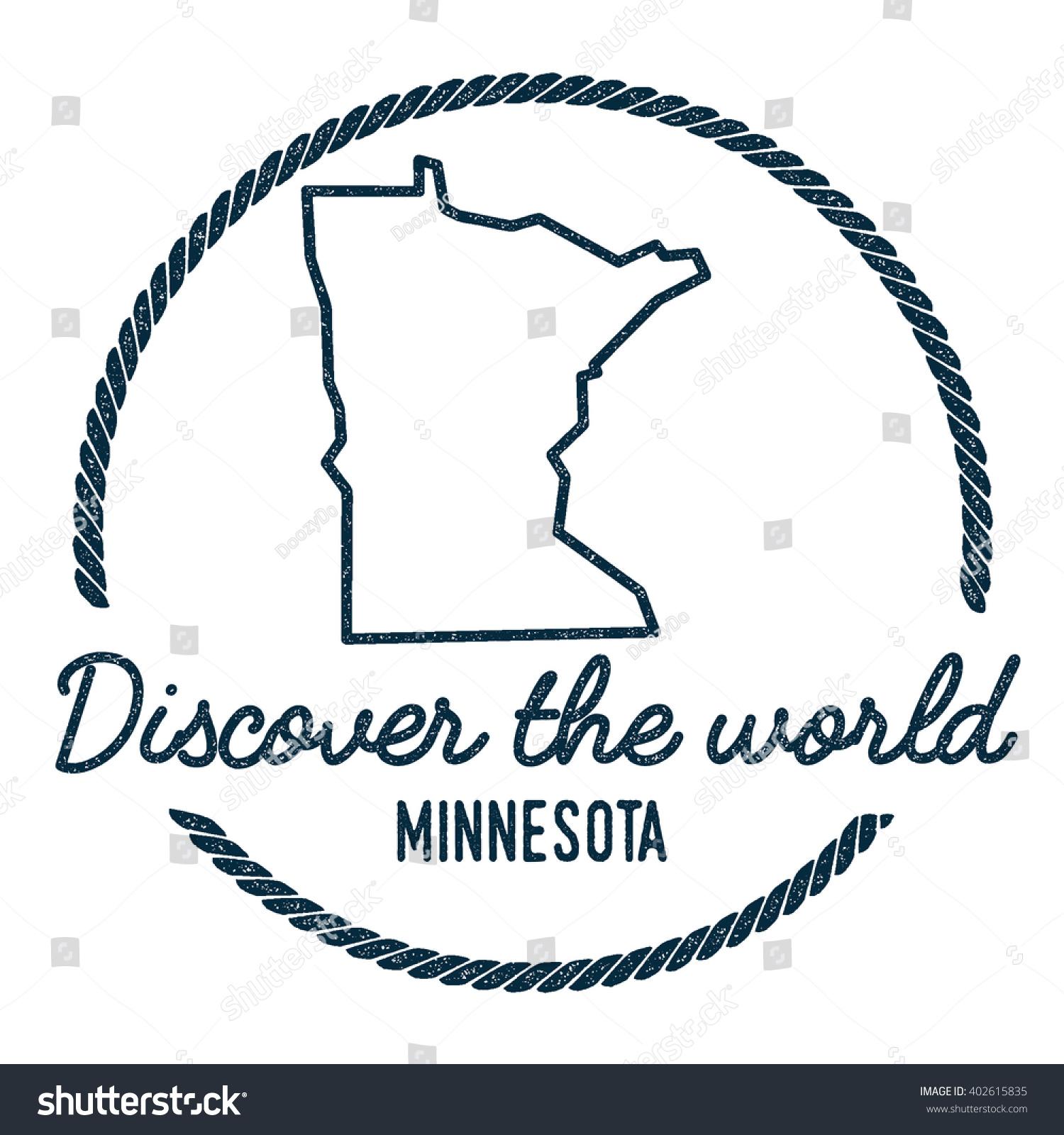 Minnesota Map Outline Vintage Discover World Stock Vector