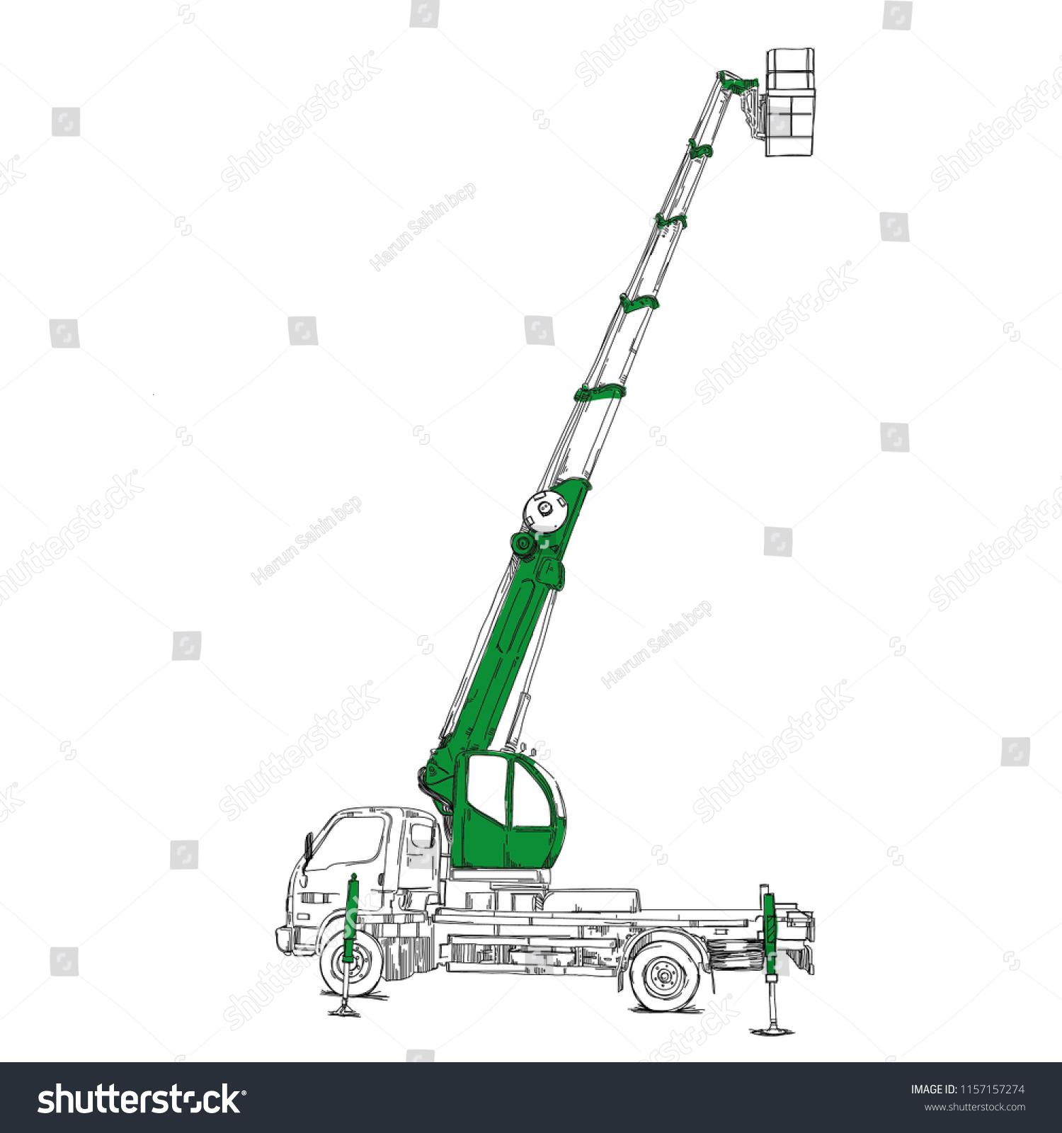 hight resolution of mobile crane sketch