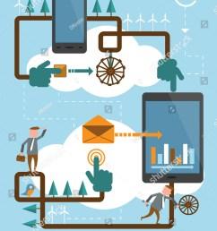 mobile phone work cloud illustration [ 1136 x 1600 Pixel ]