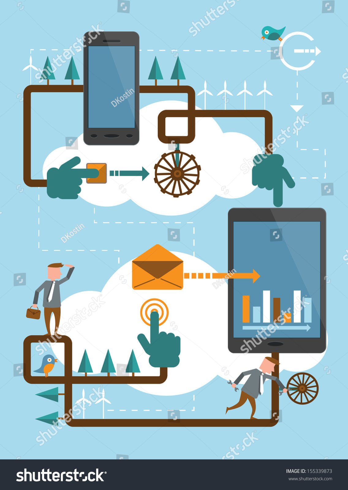 hight resolution of mobile phone work cloud illustration