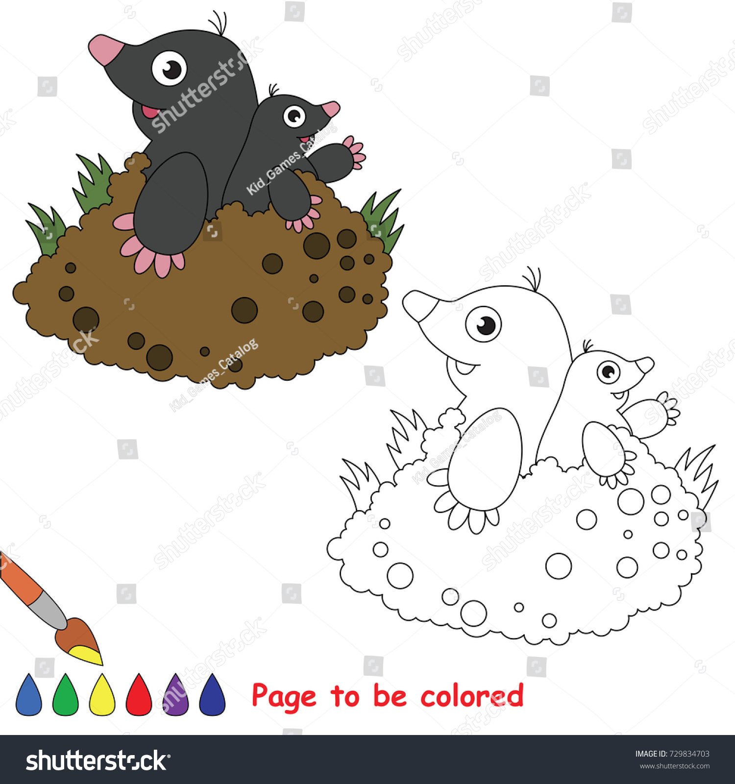 Mole Mother Her Baby Be Colored Stock Vector