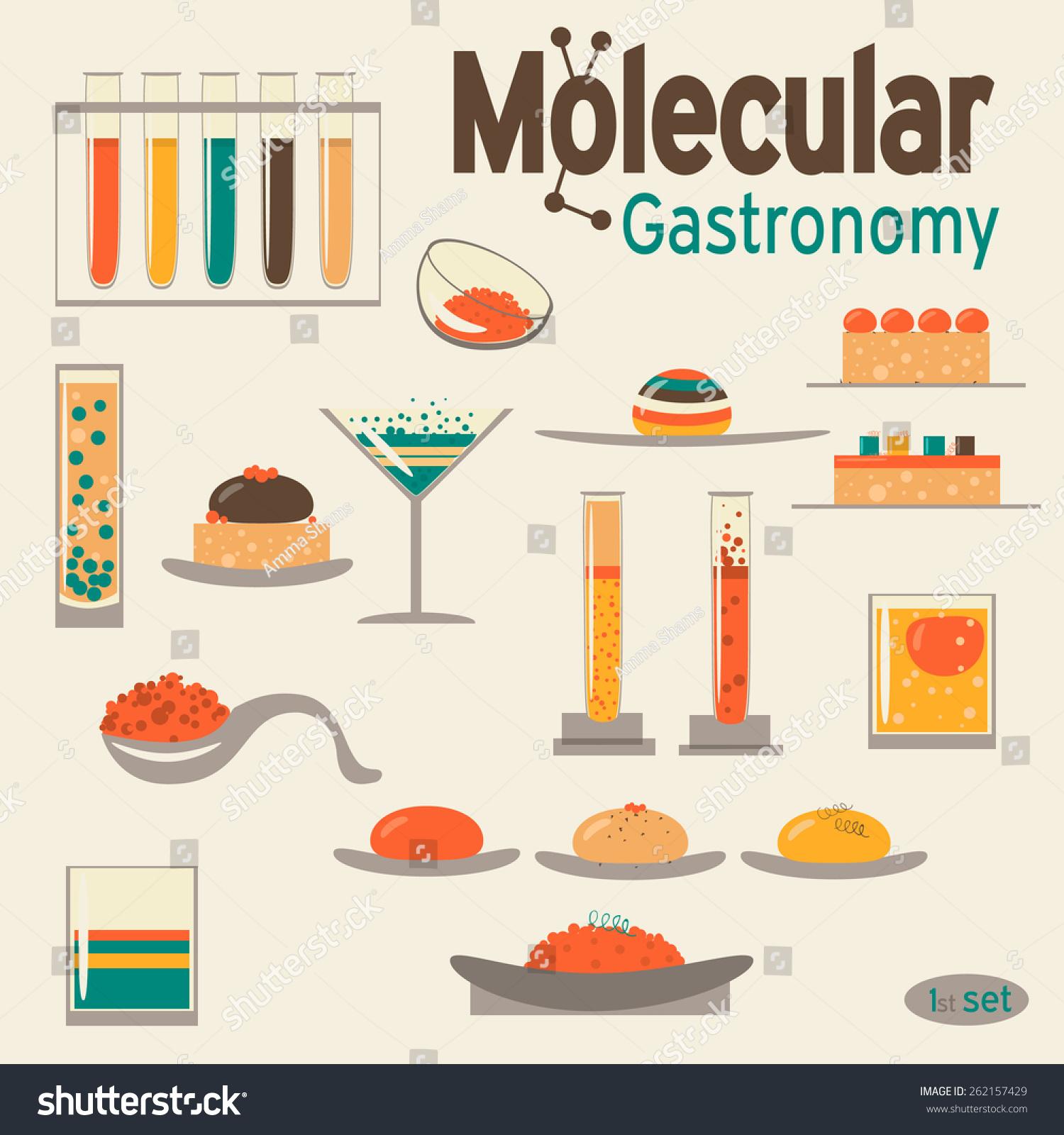 Molecular Gastronomy 2 Set. Vector Flat Design. In Retro Colors. - 262157429 : Shutterstock