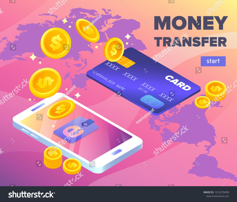 Money Transfer Bank Card Digital Wallet Stock Vector Royalty Free 1512270458