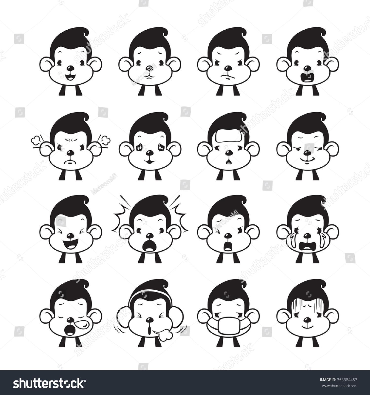 Monkey Emoticons Set Monochrome Animal Emoji Stock Vector