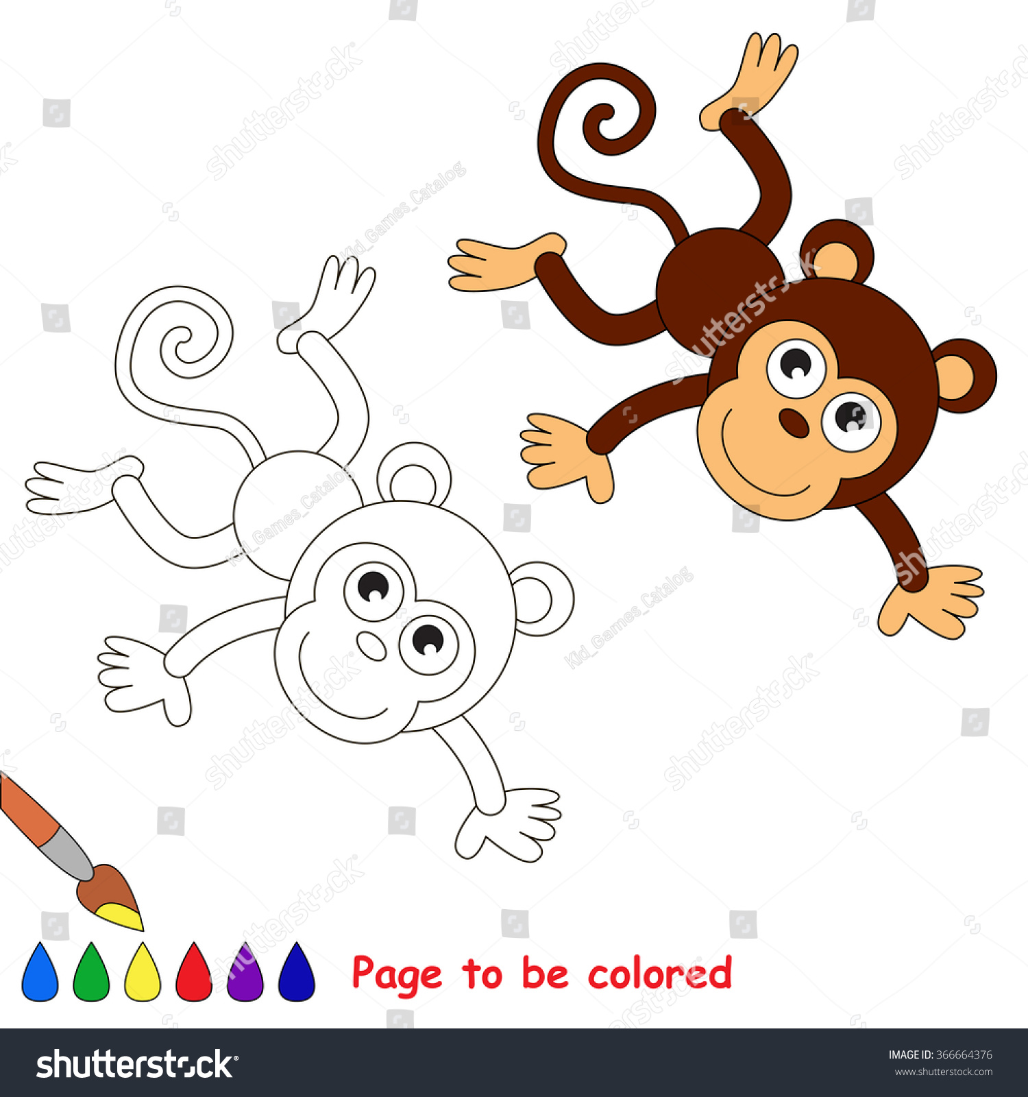 Monkey Vector Cartoon Be Colored Coloring Stock Vector