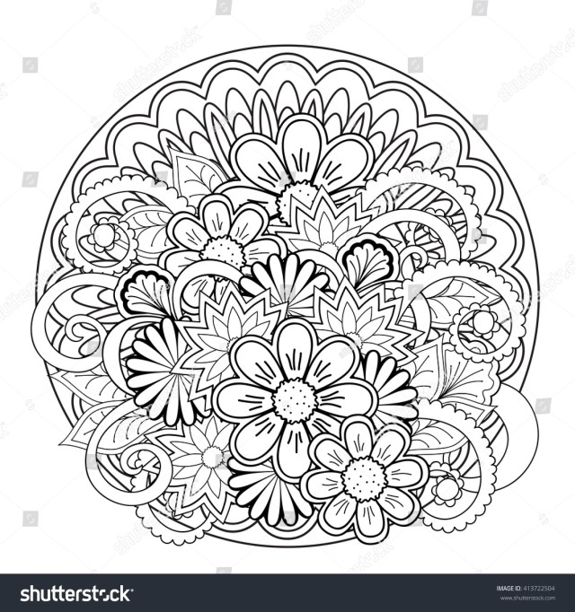 Monochrome Hand Drawn Flowers Mandalas Boho Stock Vector (Royalty