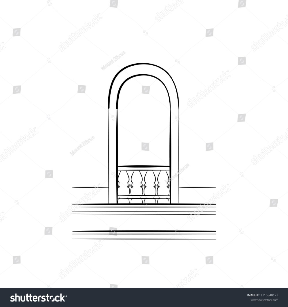 medium resolution of monochrome sketch of a window arch frame of a balcony door free hand draw