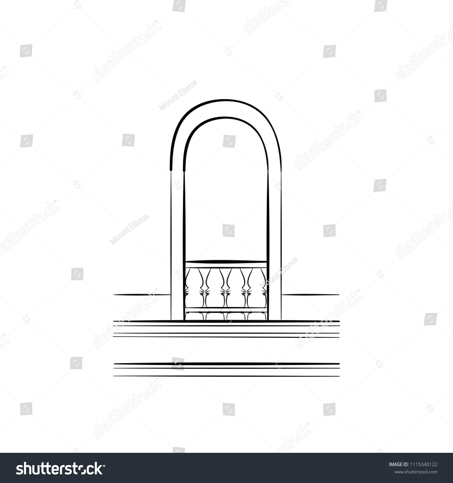 hight resolution of monochrome sketch of a window arch frame of a balcony door free hand draw