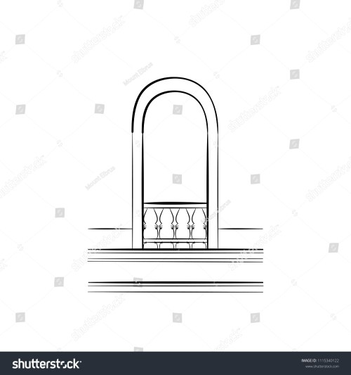 small resolution of monochrome sketch of a window arch frame of a balcony door free hand draw