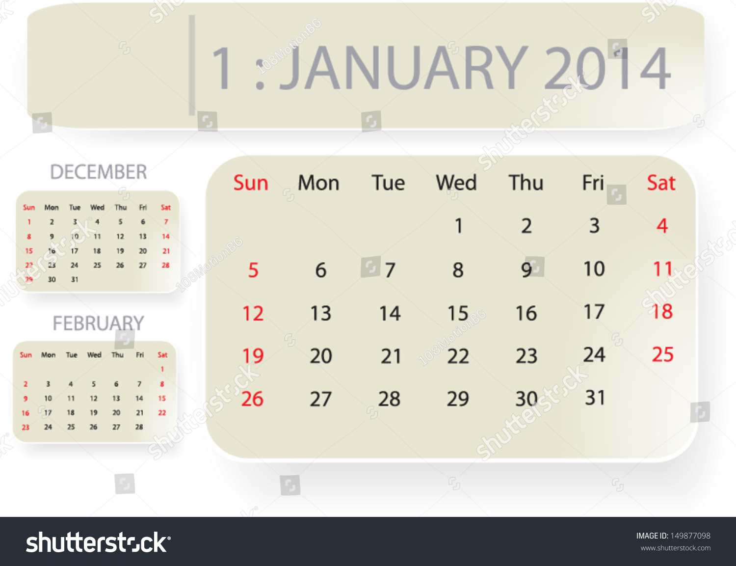 Month January Calendar Template Background Stock Vector