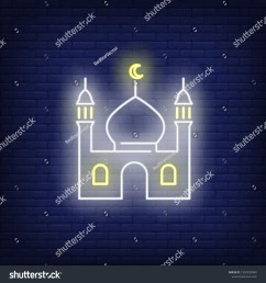 mosque neon sign religion culture and architecture design night bright neon sign colorful billboard light banner vector illustration in neon style  [ 1500 x 1600 Pixel ]