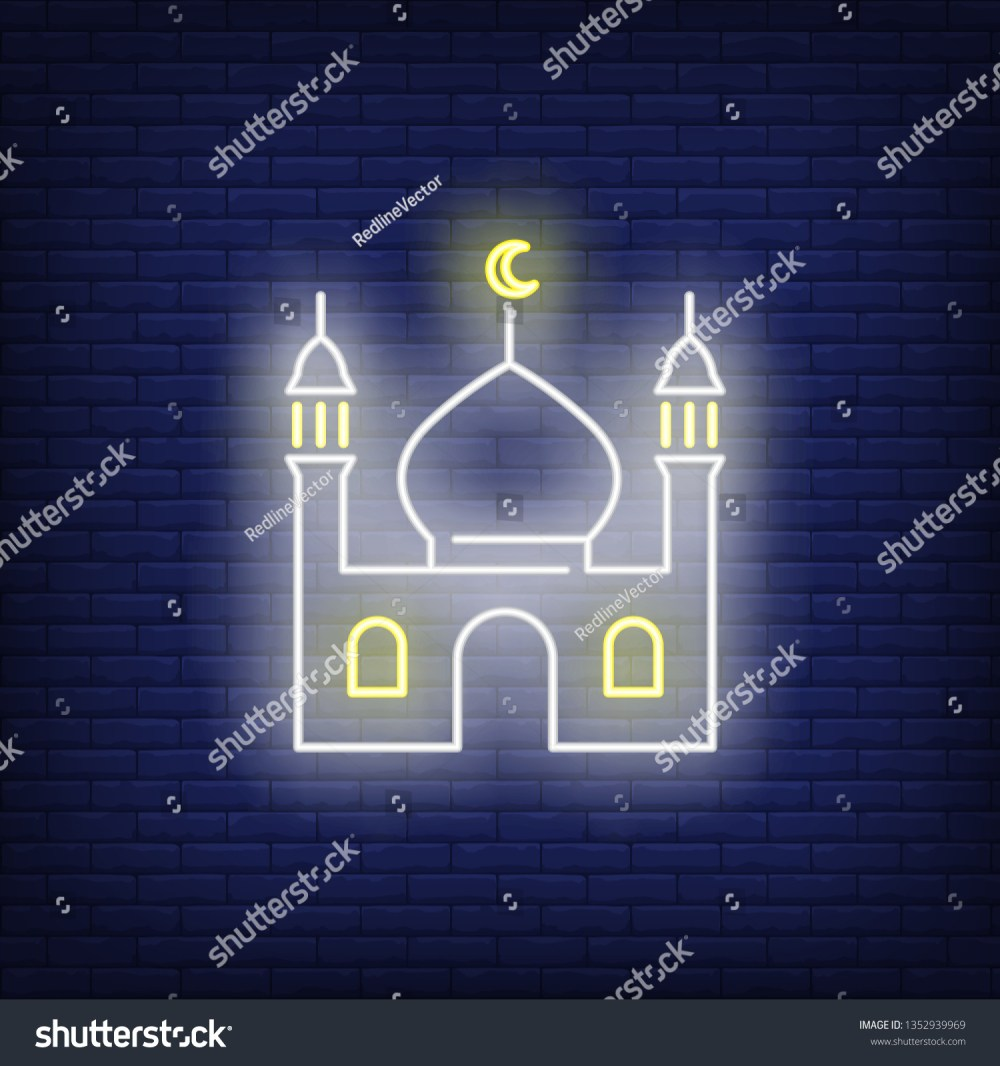 medium resolution of mosque neon sign religion culture and architecture design night bright neon sign colorful billboard light banner vector illustration in neon style