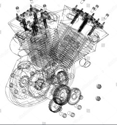 motorcycle engine on a white background drawing [ 1322 x 1600 Pixel ]
