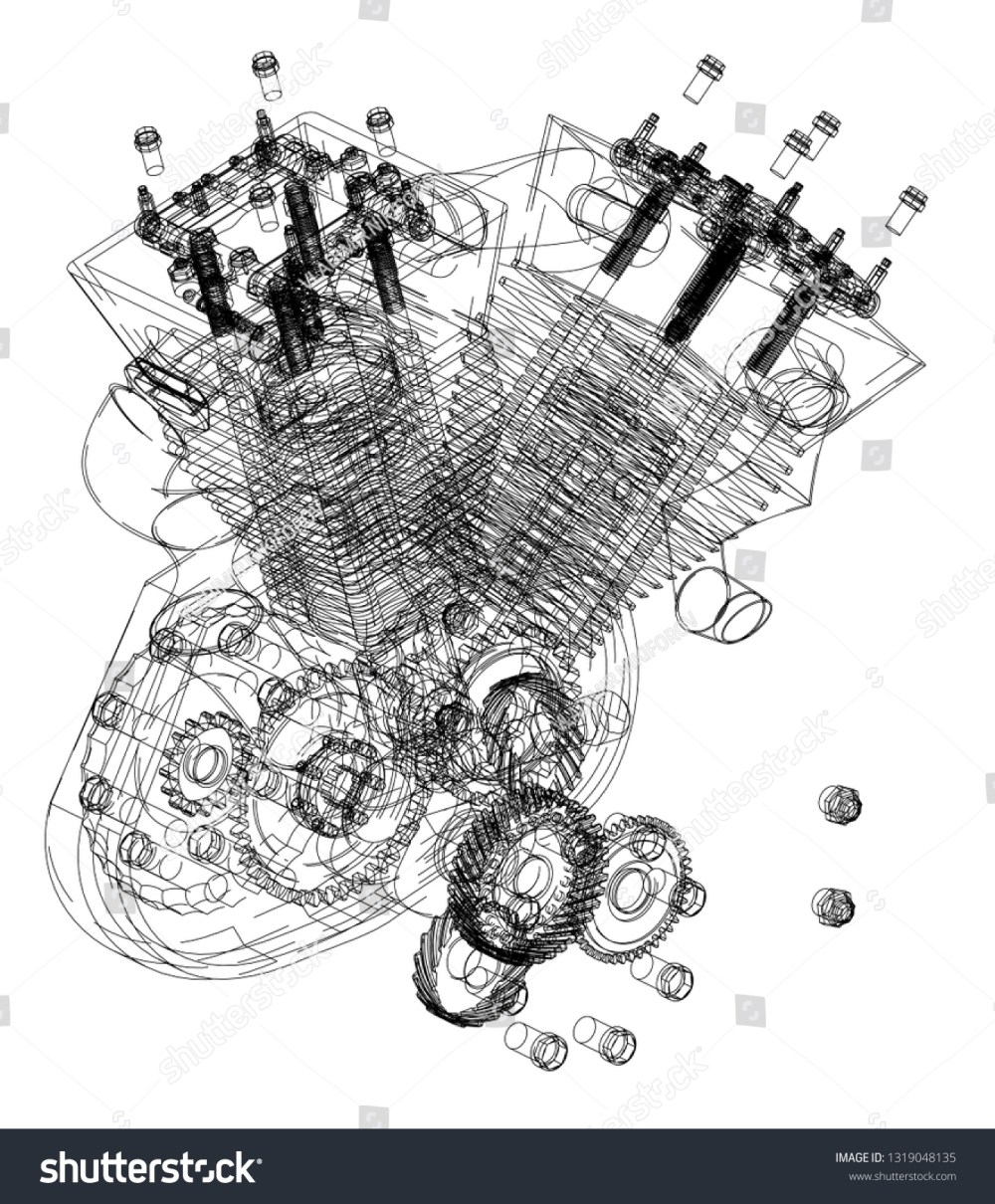 medium resolution of motorcycle engine on a white background drawing