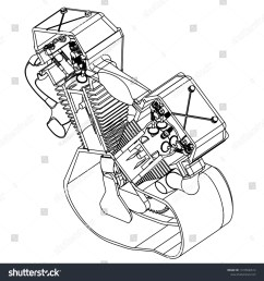 motorcycle engine on a white background drawing [ 1500 x 1587 Pixel ]