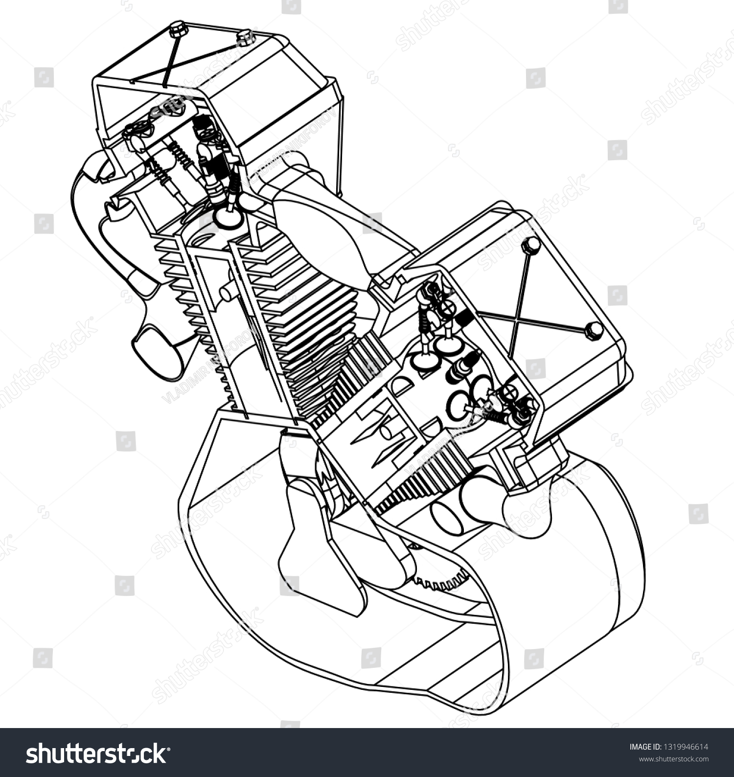 hight resolution of motorcycle engine on a white background drawing