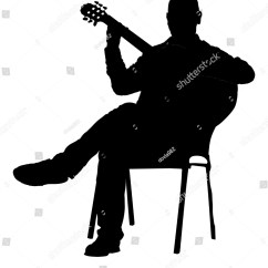 Guitar Playing Chair White Wooden Folding Chairs For Weddings Music Man Sitting On Stock Vector 571249291
