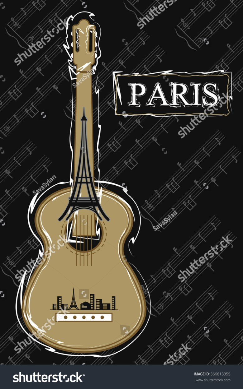 music paris guitar vector vintage template stock vector (2018