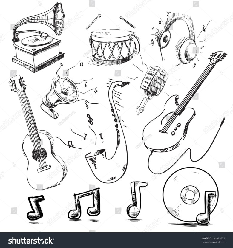 musical instruments icons collection hand drawing stock-vektorgrafik