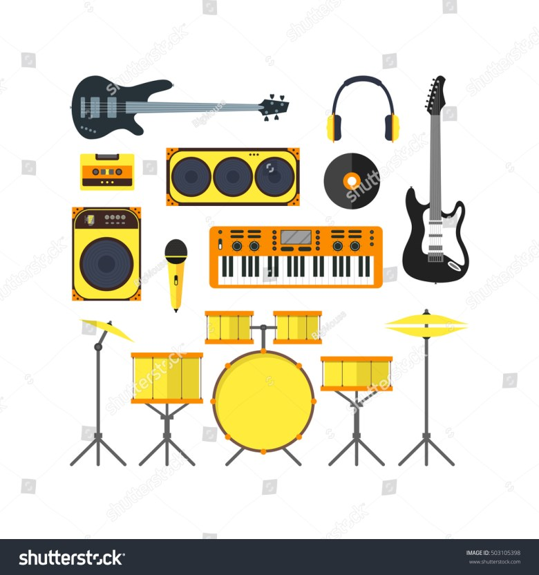 musical instruments icon set flat vector stock vector (royalty free