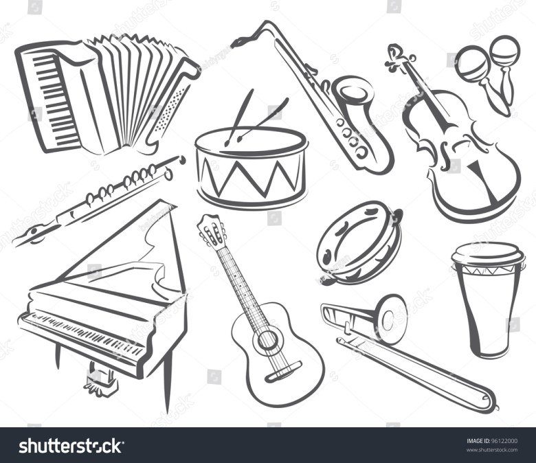 musical instruments set icons simple lines vector de stock96122000