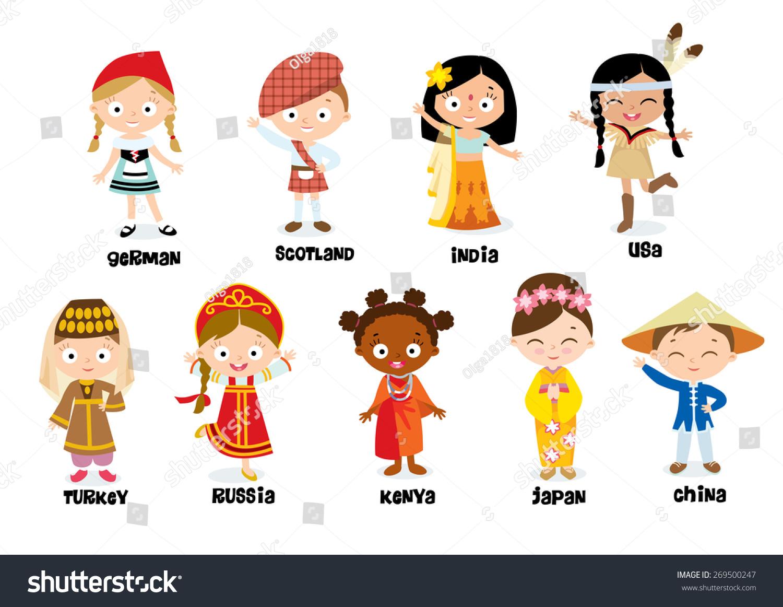 Nationalities For Children Stock Vector