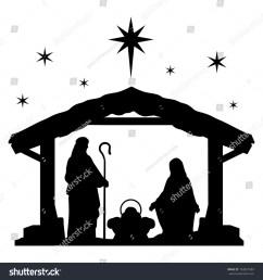 nativity scene silhouette holiday holly night christmas cut file scrapbook decorative card clip art vector  [ 1500 x 1600 Pixel ]