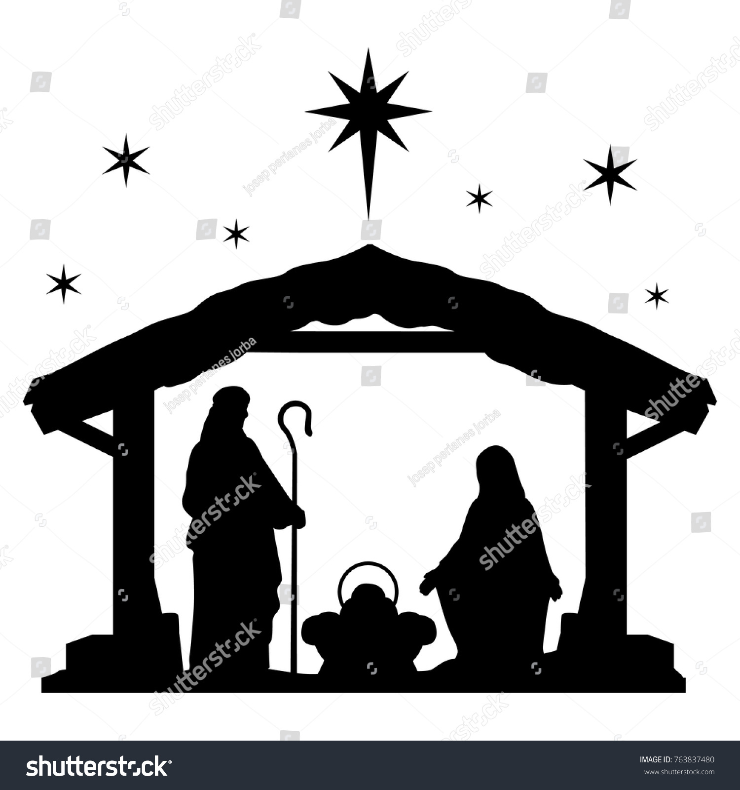 hight resolution of nativity scene silhouette holiday holly night christmas cut file scrapbook decorative card clip art vector