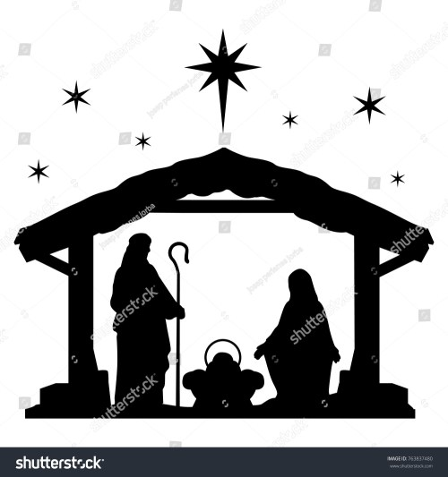 small resolution of nativity scene silhouette holiday holly night christmas cut file scrapbook decorative card clip art vector