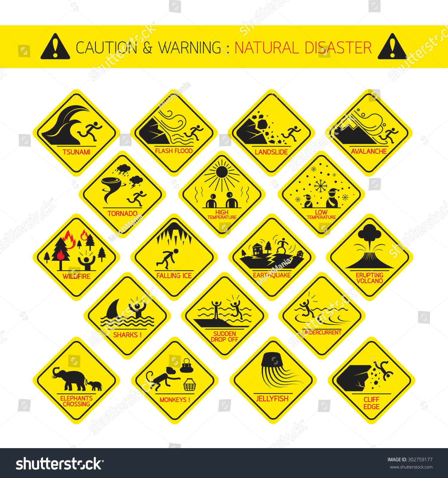Natural Disaster Warning Signs Caution Danger Stock Vector