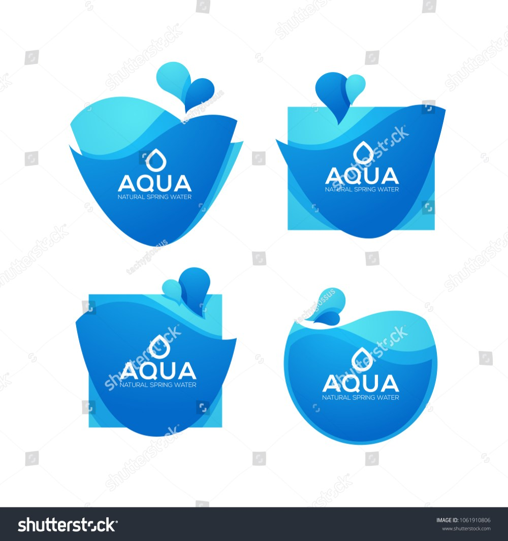 medium resolution of natural spring water vector logo labels and stickers templates with aqua drops
