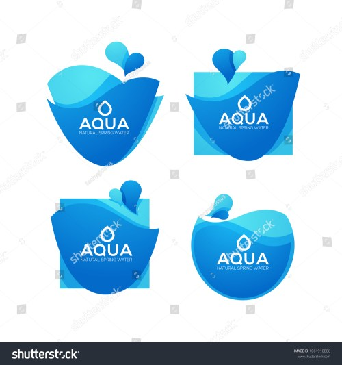 small resolution of natural spring water vector logo labels and stickers templates with aqua drops