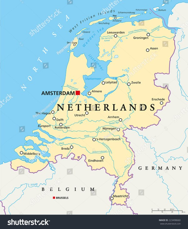 Netherlands Political Map Capital Amsterdam National Stock