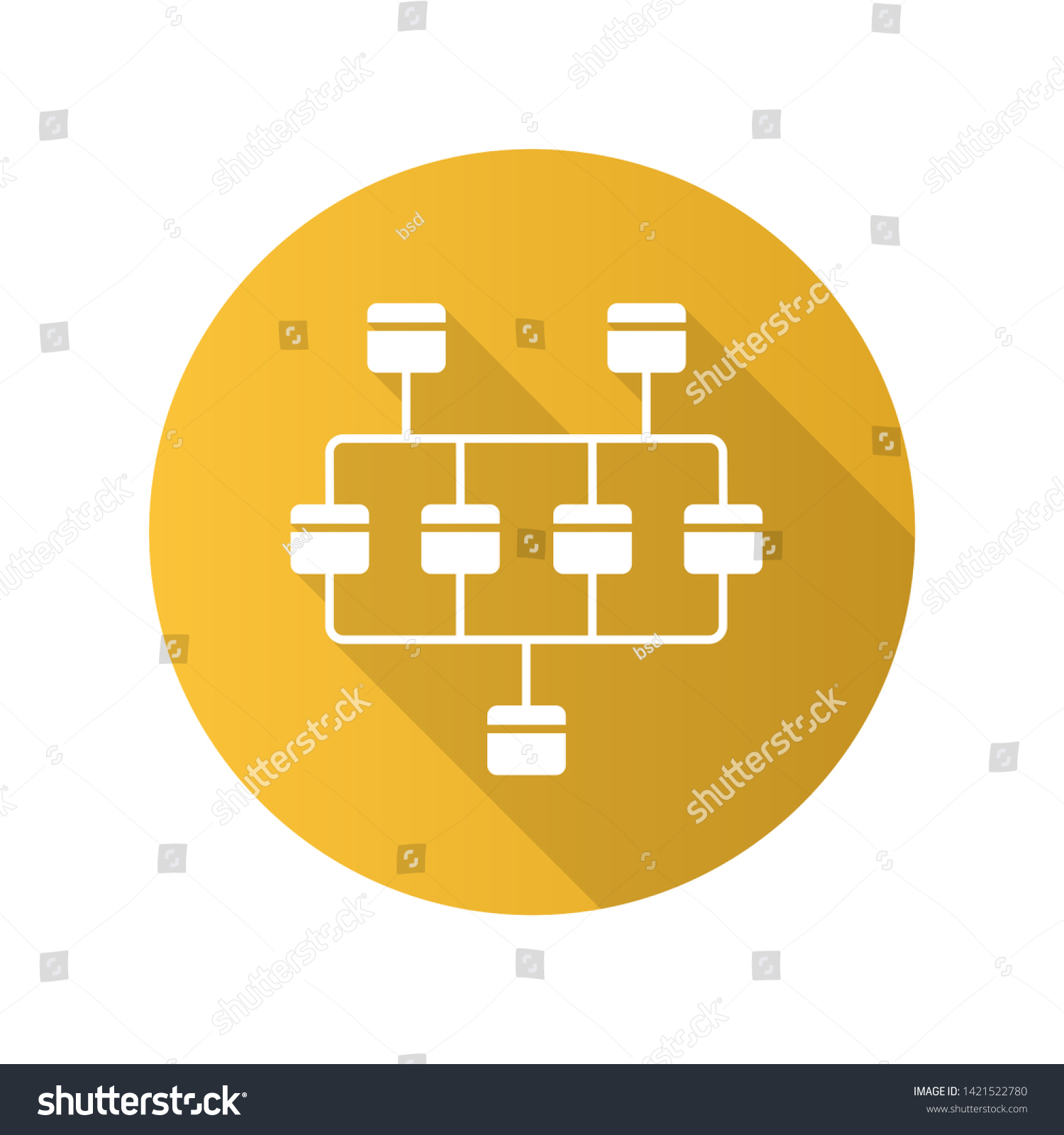 hight resolution of network diagram flat design long shadow glyph icon cluster diagram vertices and edges of
