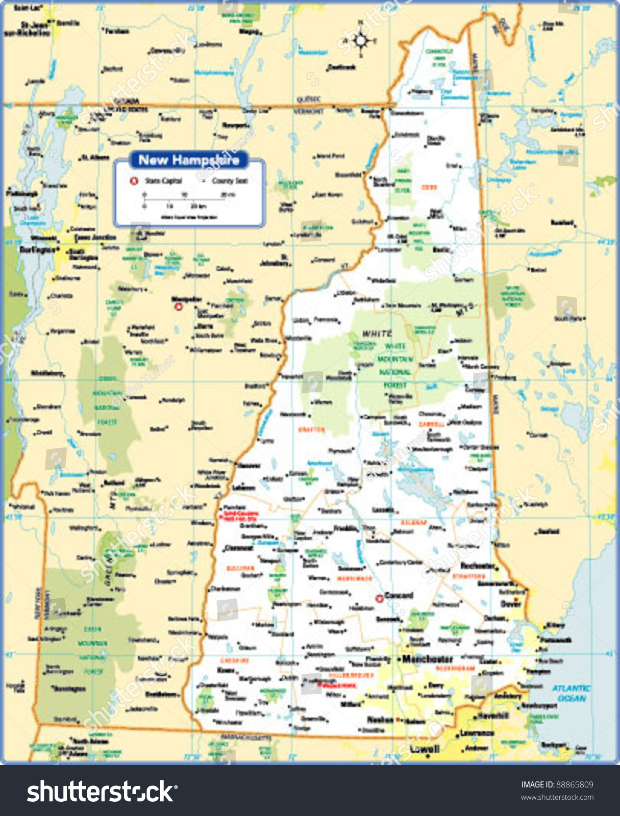 New Hampshire State Map Stock Vector Illustration