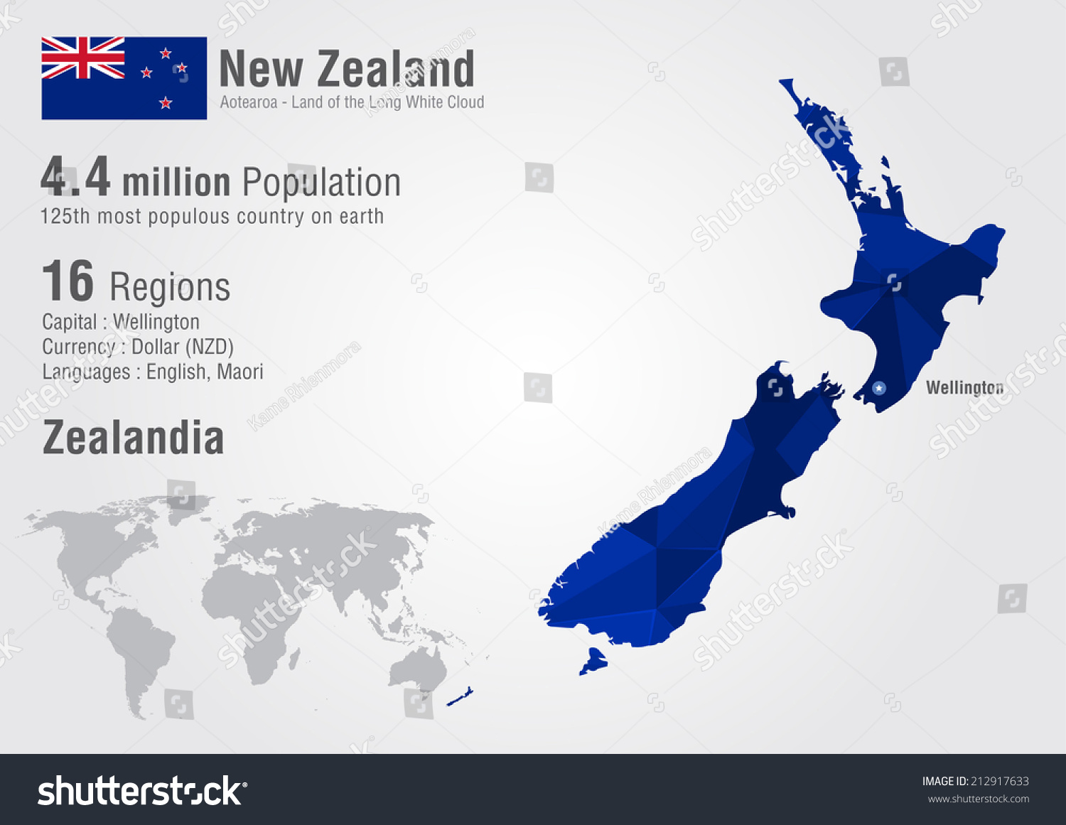 New Zealand World Map Pixel Diamond Stock Vector