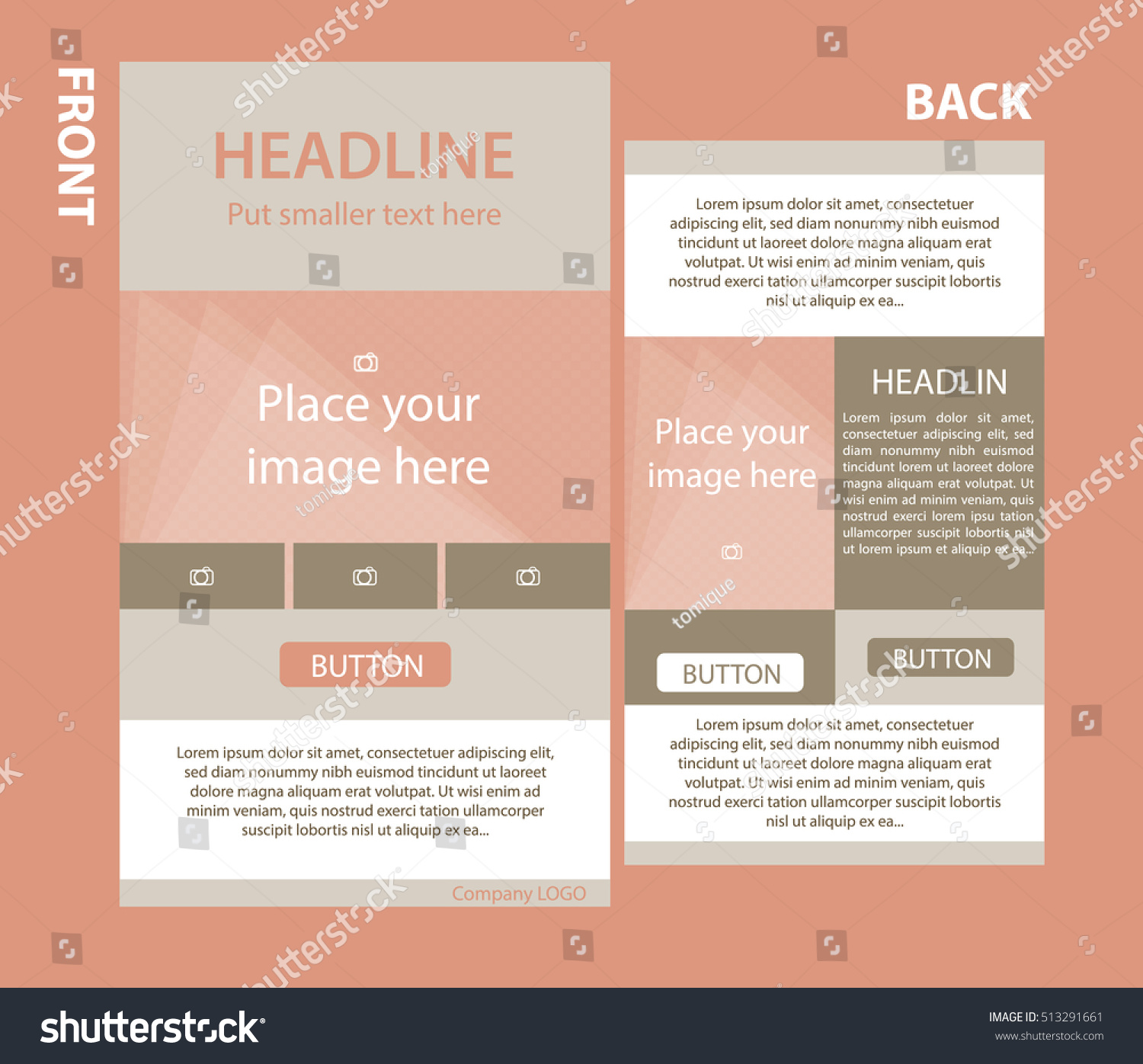 Newsletter Corporate Vector Template With Front And Back Layout | Ez Canvas