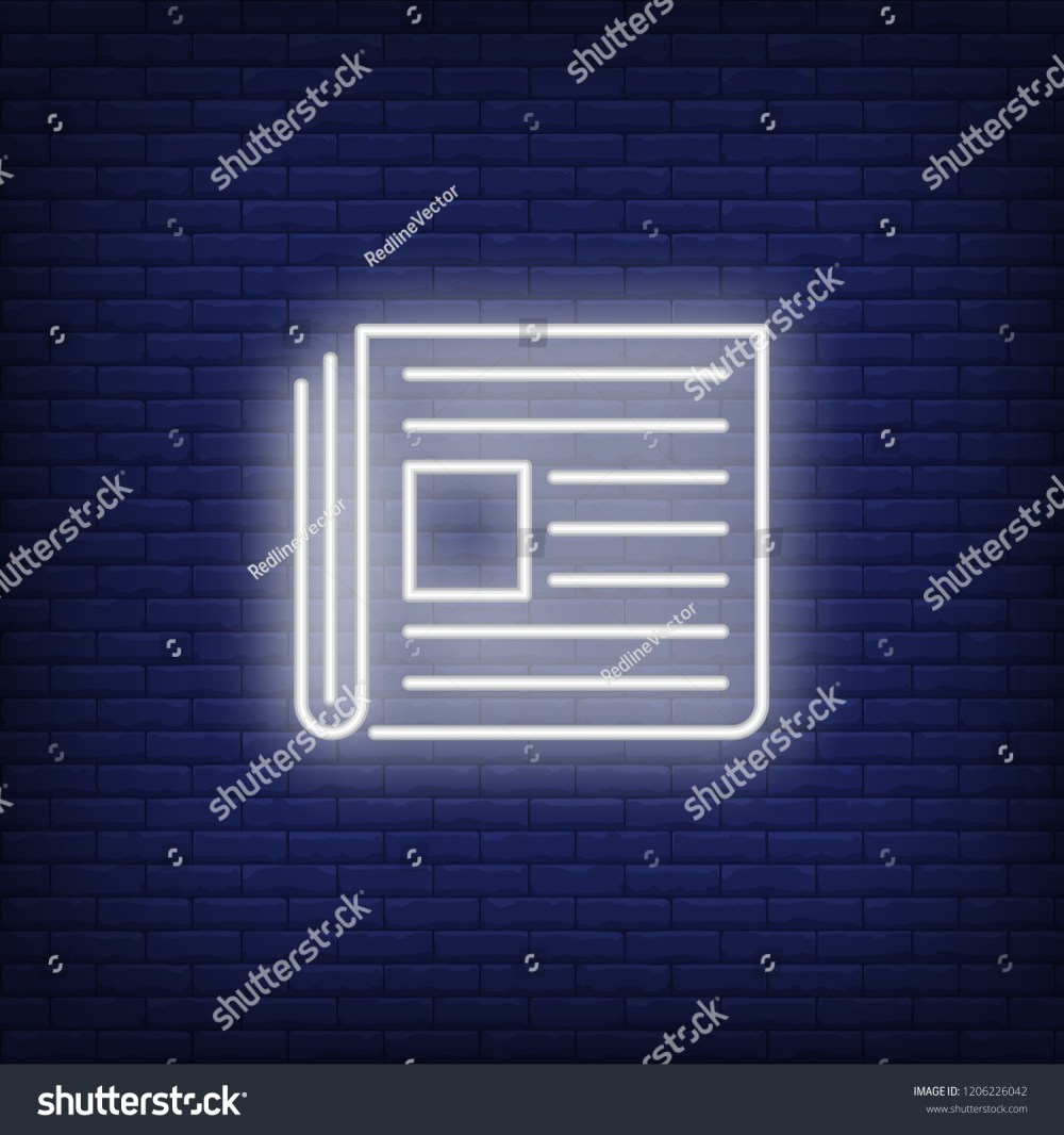 medium resolution of newspaper neon sign glowing neon paper on dark blue brick background vector illustration for news printing topics online magazines and paper editions