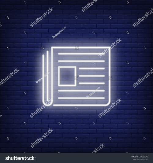 small resolution of newspaper neon sign glowing neon paper on dark blue brick background vector illustration for news printing topics online magazines and paper editions