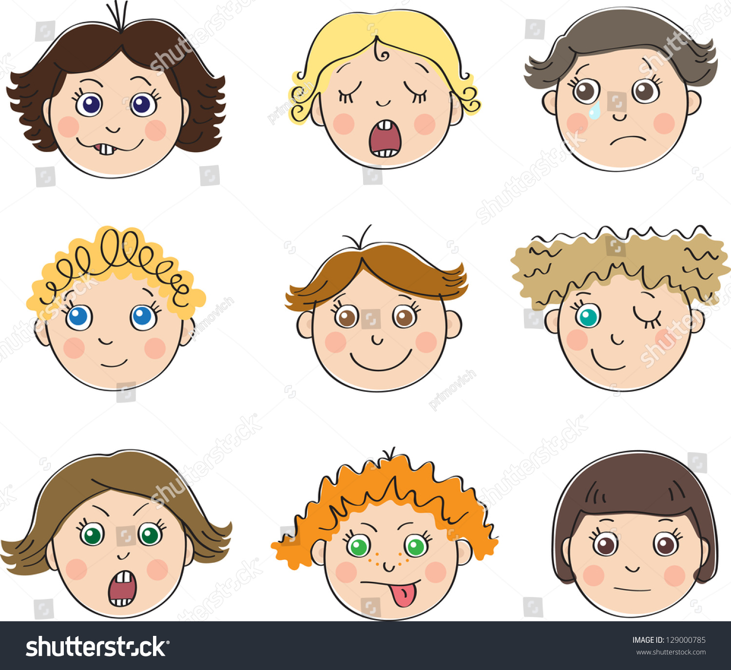 Nine Childrens Faces Different Moods Stock Vector