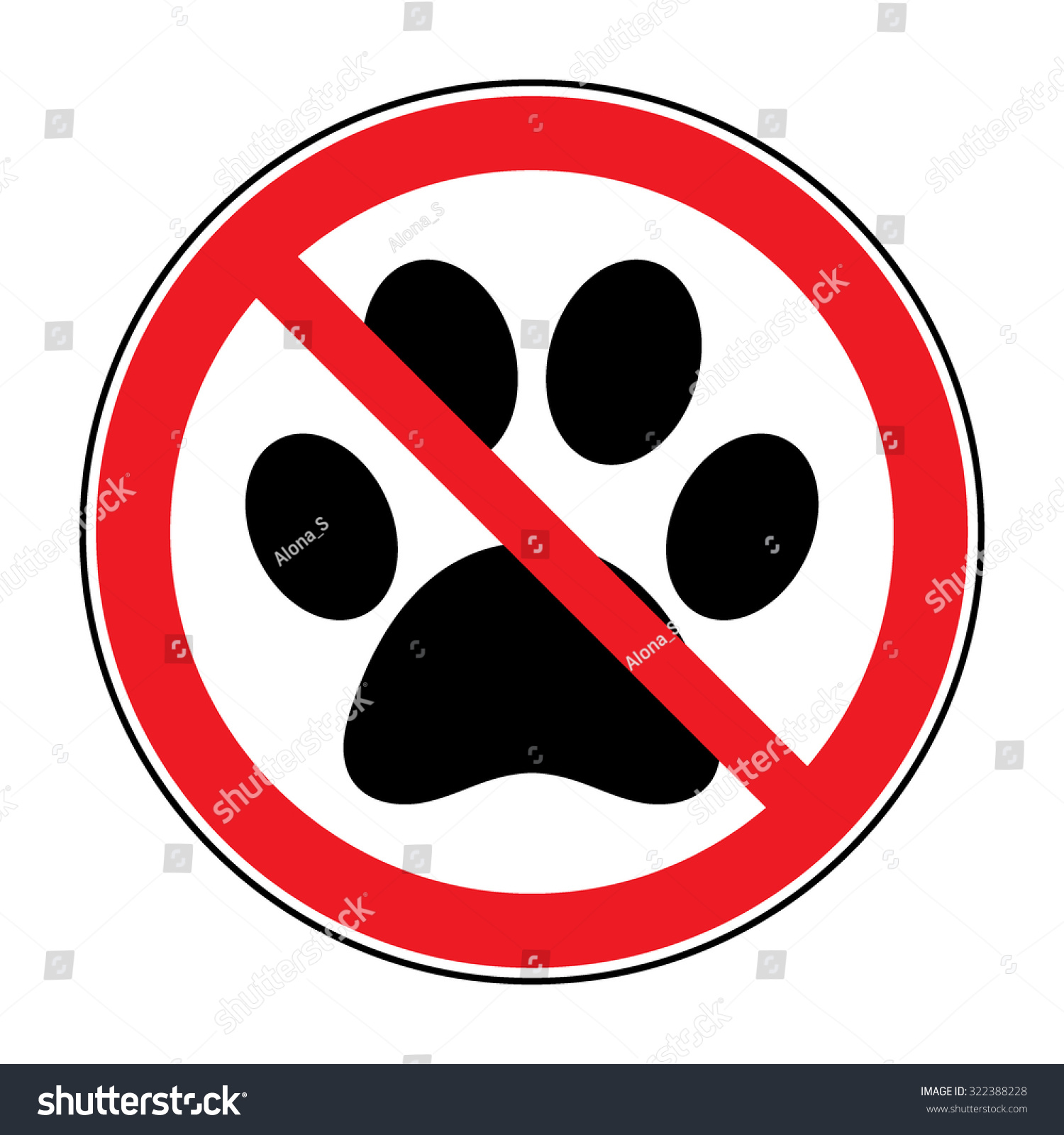 No Pets Sign Paw Print With Prohibition Symbol With Pet