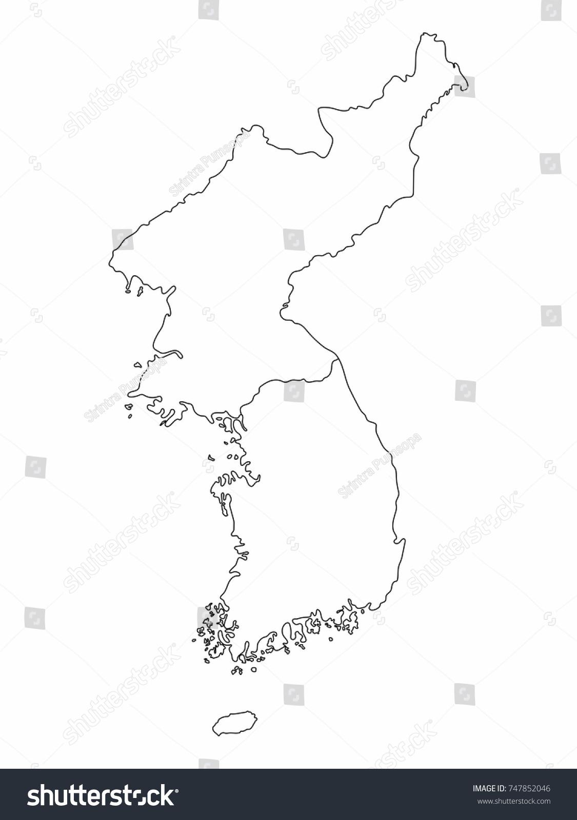 Vector De Stock Libre De Regalias Sobre North South Korea Map Outline Graphic747852046