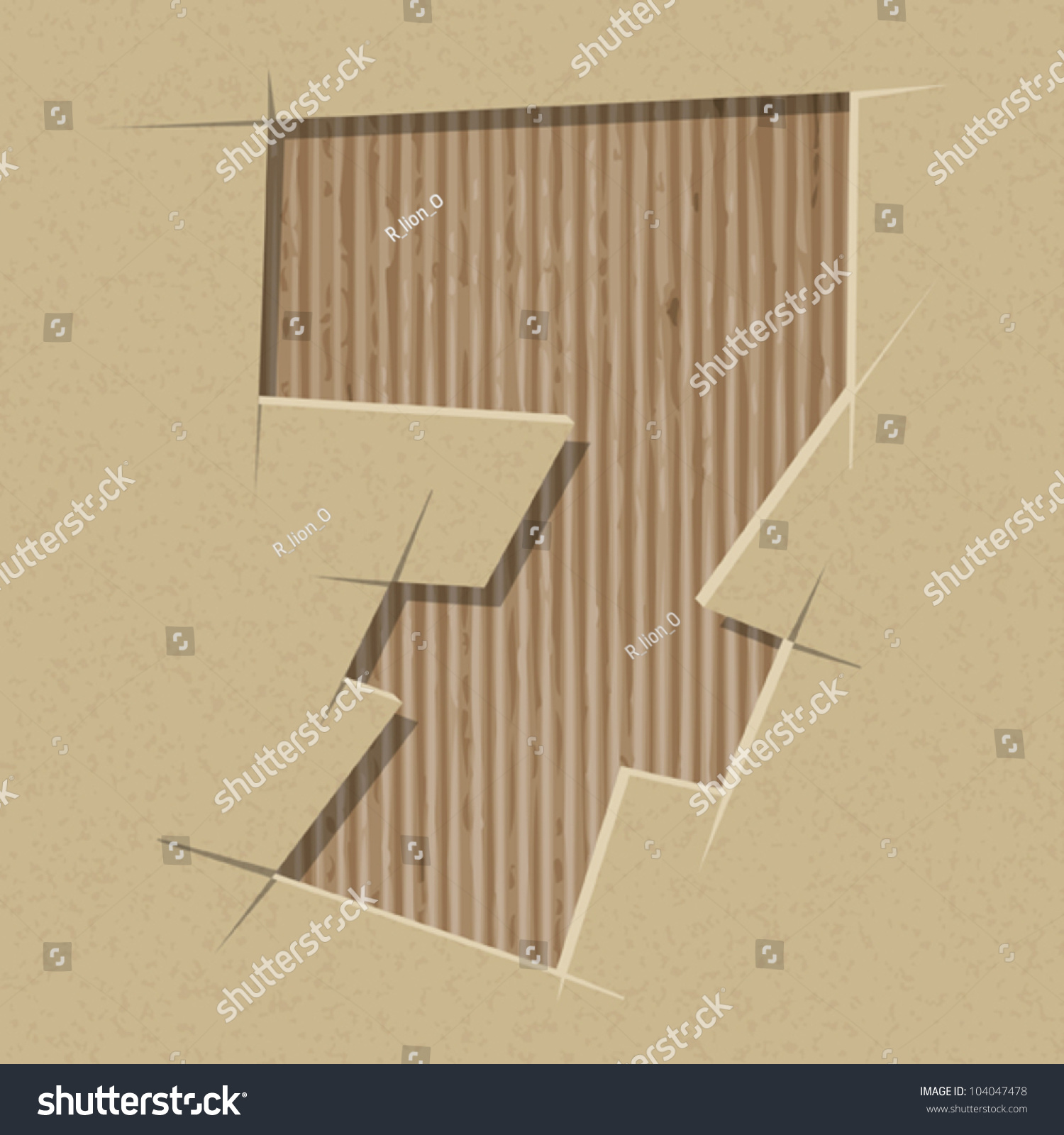 Number 7 Cut Out On Cardboard Stock Vector