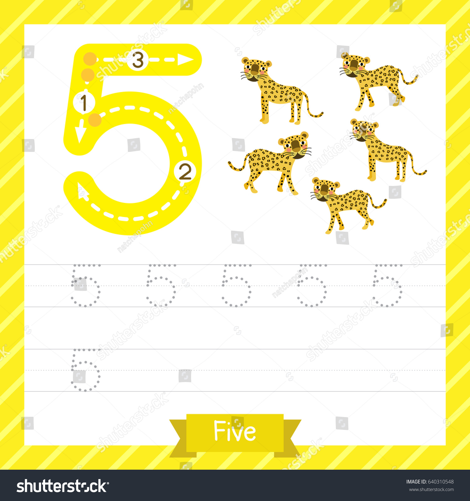 Number Five Tracing Practice Worksheet 5 Stock Vector
