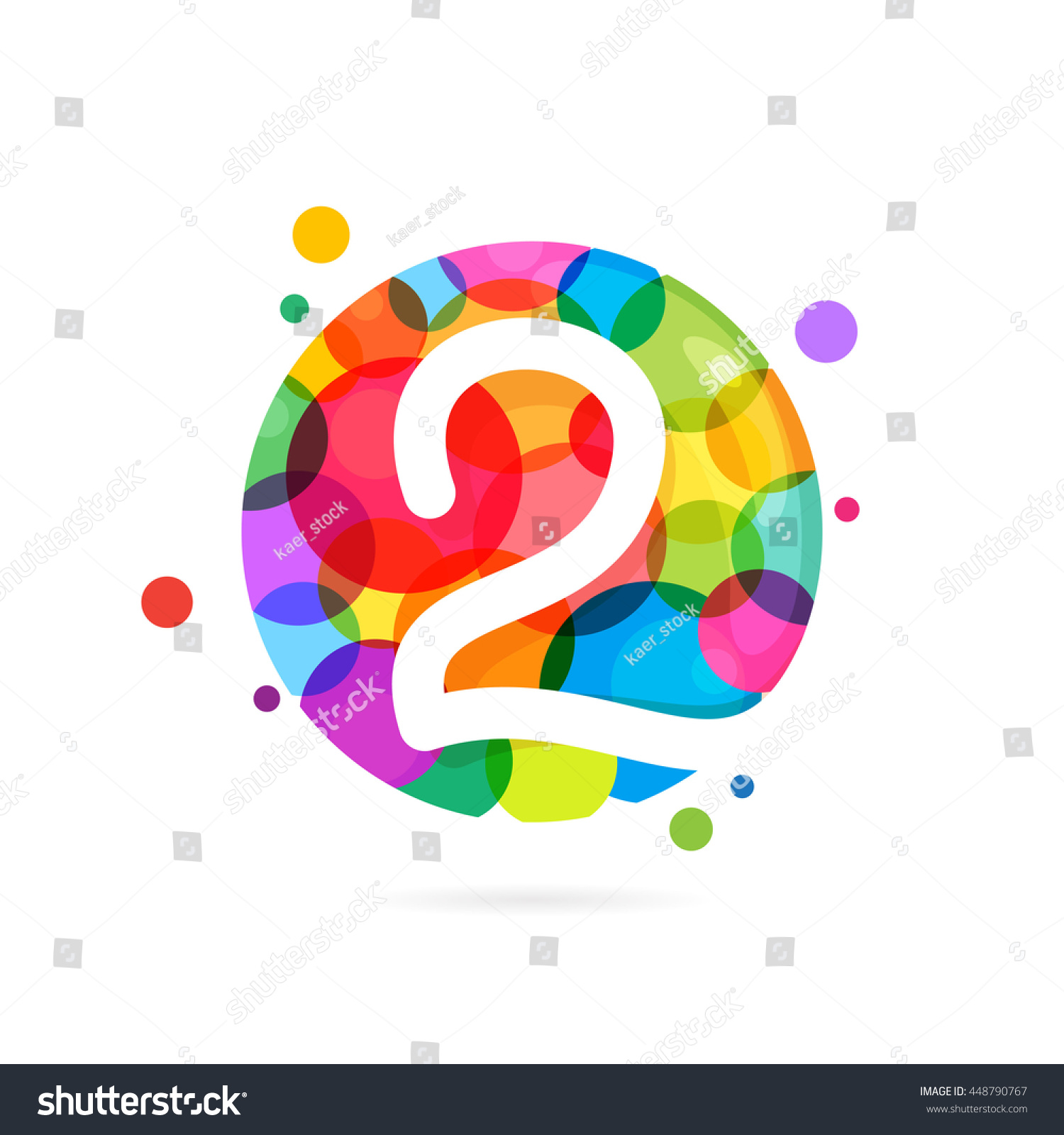 Number 2 Logo Rainbow Dots Colorful Stock Vector