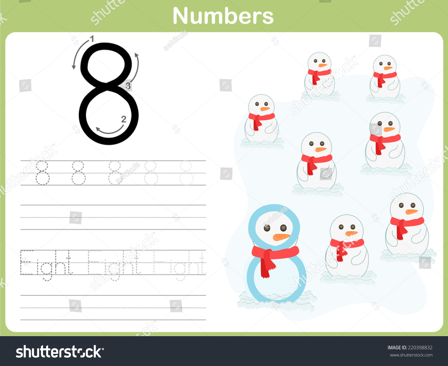Number Tracing Worksheet Writing 09 Stock Vector