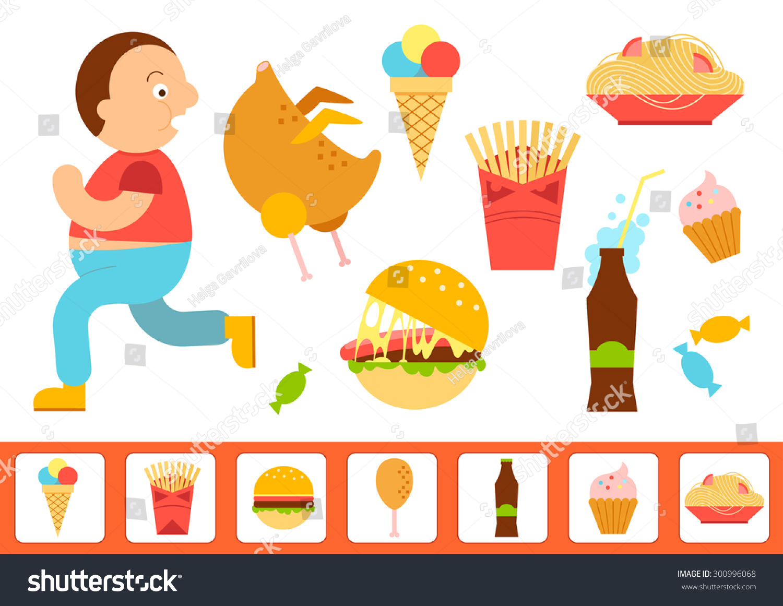 Obesity Overweight Infographic Fat Man Running Stock