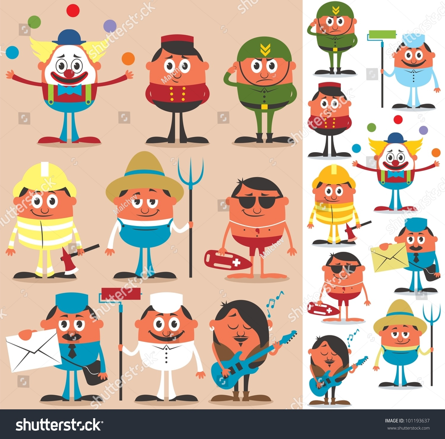 Occupations 2 Set Cartoon Characters Different Stock Vector 101193637  Shutterstock
